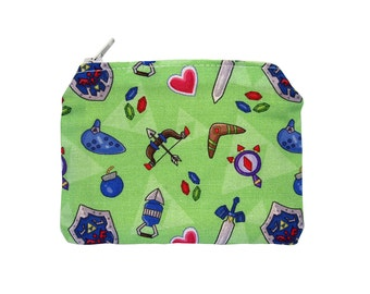Legend of Zelda Zippered Pouch - Ocarina of Time / Green Coin Purse / Illustrated Fabric / Geeky Accessory / Video Game Print / Zipper Pouch