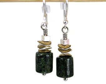 Mixed Metal Silver and Gold Green Lizardite Dangling Earrings, Green Earrings, Dangling Earrings, Gemstone Earrings