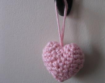 Hanging crochet hearts