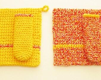 Crochet Hot Pad Set-Yellow and Orange Pot Holder Set-Crochet Trivet-Crocheted Pan Handle Cover-Crochet Pot Holder Set-Skillet Handle Covers