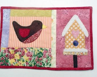 "Bird Birdhouse Mug Rug (9"" x 6"") ~ Hand Appliqued ~ Machine Quilted ~ Mini Quilt ~ Coaster ~ Place Mat ~ Candle Mat ~ Table Mat"