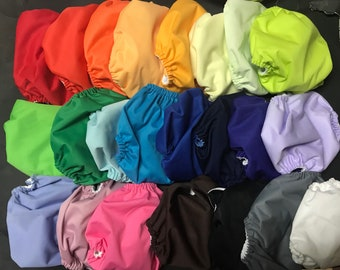 MamaBear Waterproof Diaper Cover, Wrap One Size Fits Most - Set of 10 All Solid Colors