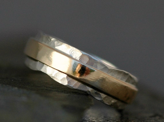 Hammered Sterling Silver and Yellow Gold Wave Ring- Mixed Metal Custom Made