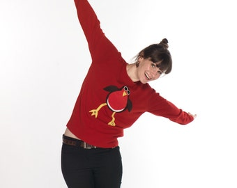 Squeaky Tummy Robin Ladies Christmas Sweater