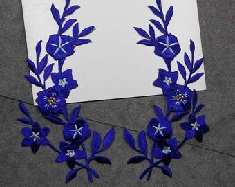 1Pair Embroidery Plum flower Venice Lace Appliques Wedding Decor Bridal Headwear Alencon Lace Patch YL594