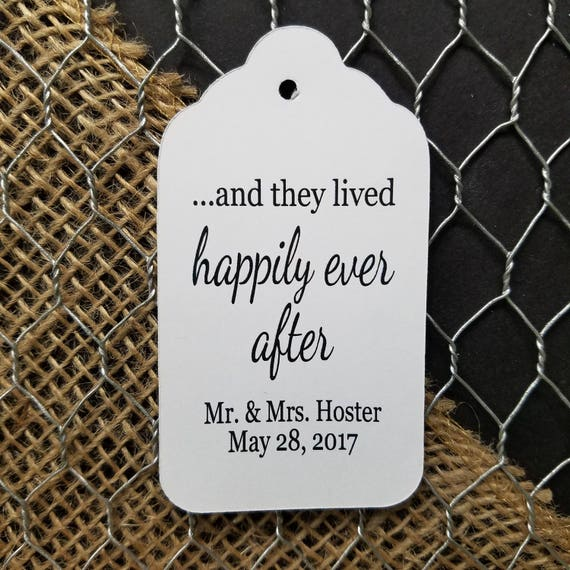 And They Lived Happily Ever After favor tag LARGE Tags Personalize with names and date Choose your Quantity