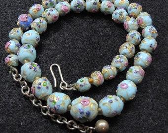 Vintage Baby Blue Wedding Cake Beaded Necklace, Wedding Cake Beads