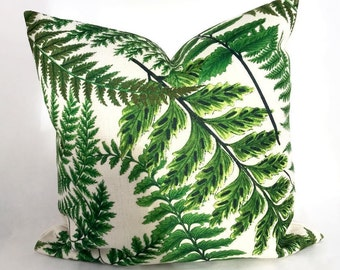 Fern cushion, Green Fern Cushion, Botanical Cushion, Botanical Pillow, Tropical cushion, Green cushion, Garden decor pillow, botanical decor
