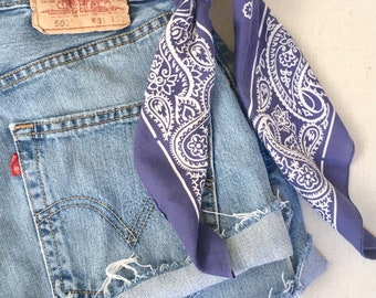 Faded Indigo Blue Bandana Vintage Navy Blue Color Fast Lightweight Made in USA Paisley RN 13962