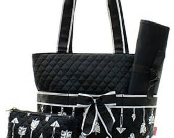 Monogrammed/Personalized Black with White Arrows Diaper Bag, Tote Bag, Baby Gift