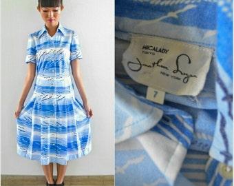 1970 Vintage Dress/ Oceanic Sky Dress/ JONATHAN LOGAN/ Small Dress/ Blue White Dress/ Bird Print Shirtdress/ Made in JAPAN/Chic Summer Dress