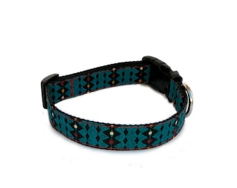 "1"" Wide Medium or Large Buckle or Martingale Dog Collar - Aqua Blue With Triangles Geometric Pattern"
