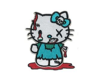 Hello Kitty Zombie Iron-ON Patch Cat Kawaii Kawai Kowai Jpop Kpop Cosplay Tokyo Japan Gothic Lolita