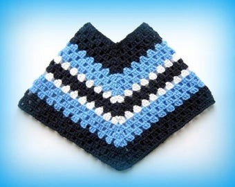 Hand crocheted poncho Blue 12-18 months baby
