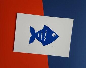 Blue Fish Screenprint - Hand Printed, Limited Run (10)