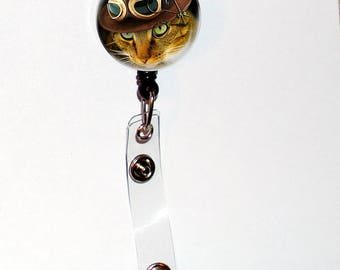 Badge Holder ID Steampunk Kitty Cat Hat Teacher Designer Gift Retractable  Reel Clip