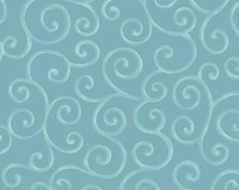 CHRISTMAS PURE and SIMPLE - Scrolls in Teal - Blue Swirl Cotton Quilt Fabric - Nancy Halvorsen for Benartex Fabrics - 4381-84 (W1759)
