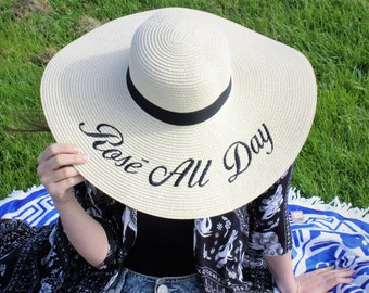 Embroidered Wide Brim Floppy Hat Wish you were here/Leave a message/Do not disturb/ROSÉ All Day