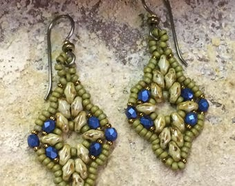 Green with Blue Dangle Earrings