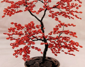 Red Beaded Bonsai Wire Tree Sculpture