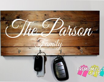 Family Name Key Hanger Made Of MDF - Wedding and Anniversary Gift - Personalized Key Holder - Housewarming Gift - Design #KH120