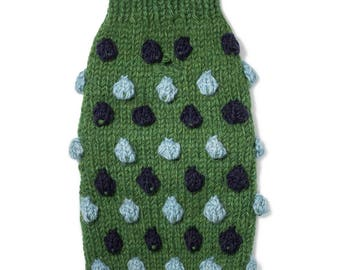 Pom Pom Wool Knit Sweater Green/Blue Multi