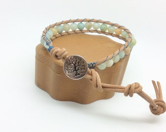 Amazonite Wrap Bracelet Amazonite Single Wrap Bracelet Amazonite Bracelet Tree Of Life Bracelet Amazonite Leather Wrap Bracelet Handmade UK