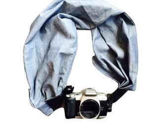 Camera Strap with Lens Pocket -  The Original Camera Scarf Strap With Hidden Pocket - Blue