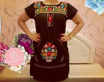 Mexican black dress Mexican black hadmade hand embroidered dress