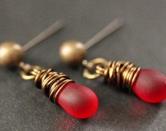 BRONZE Earrings - Clouded Red Teardrop Earrings. Dangle Earrings. Post Earrings. Handmade Jewelry.