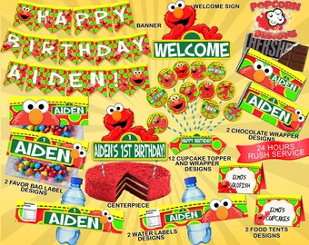 Elmo, Printable, Set, Digital, Printable, Birthday, Party, Decorations, Decor, Banner, Invitations, Favors, Design, Sesame Street, Package