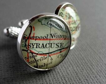 Personalised Map Cufflinks, For Him, Bronze Anniversary Gift, Groom Gift, Husband Gift