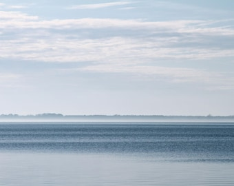 Blue Fog at Sea Art Print, Nature Photography Gray Landscape Ocean Wall Art Wall Decor Home Decor Coastal Decor