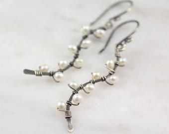 Little White Pearl Oxidized Silver Vine Earrings