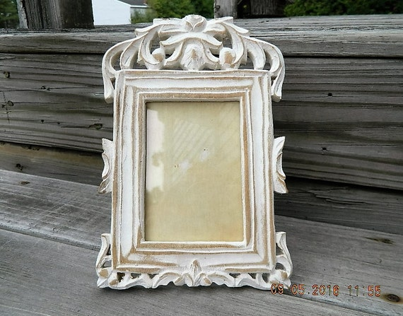 Vintage Wood Frame, Shabby Easel Frame, Distressed Wood Table Top ...