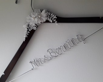 Sale, Wedding Hanger, One Line Personalized wedding hanger,  Brides Hanger, Personalized Bridal Gift, Wedding Dress Hanger, Bridesmaid.