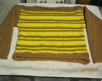 Brown & Yellow striped rolled edge boat neck pullover in knit size 10