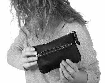 Casher - Leather Belt Bag, Waist Bag, Clutch, and Messenger in Black Elk - Dark Fashion