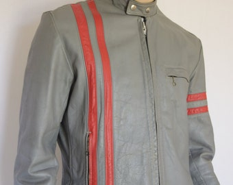 Vintage Men's 1970's SEARS ReTrO Striped Gray & Red Leather CaFe RaCeR MoToRcYcLe Jacket L