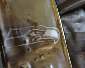 Hand Etched Seahawks Amber Glass Wine Bottle Cheese Tray Platter