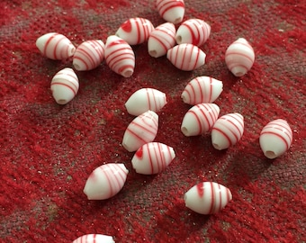 Vintage Glass Beads (7x5mm)(36) Handmade Japanese Peppermint Swirl Beads