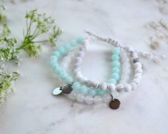 Adjustable bracelet TRIO beads semi precious gems, light Jade, blue Jade, white Howlite, charms round silver stainless steel