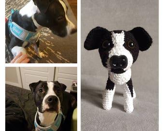 Custom crochet pitbull, custom mini pet, miniature dog, stuffed animal, custom made pet, custom amigurumi dog, pet replica, stuffed puppy