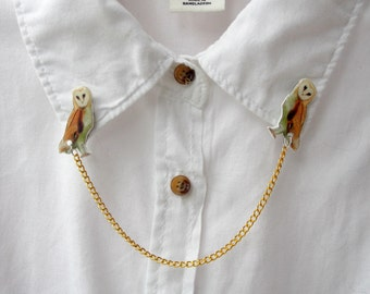 Owl - Collar Clips - Wildlife - Sweater Clips