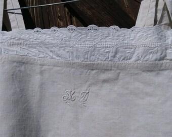 Victorian Natural Linen Dress Monogram Eyelet Lace Trim French Nightgown or Slip Medium  #sophieladydeparis
