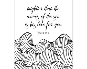 Wall Print- Black and White Waves Psalm 9:34
