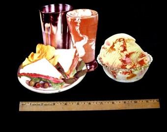 50's Vintage Die Cut Litho Ice Cream Parlor Display SF  Lot of 2 Milkshake Sandwich etc. Unused