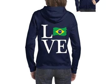Love Brazil  Women Full-Zip Hooded Sweatshirt