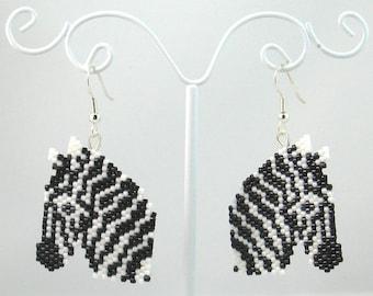 Beaded Zebra Earrings