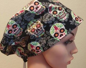 Women's Surgical Cap, Scrub Hat, Chemo Cap, Sugar Skull Hat